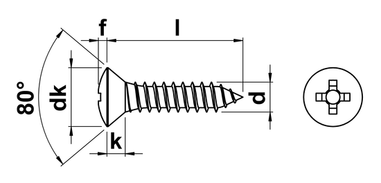 technical drawing of Phillips Raised Csk Tapping Screws DIN 7983
