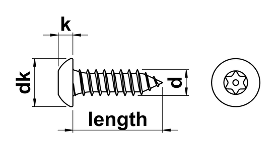 technical drawing of Pin Torx Security Button Head Tapping Screw (AB)