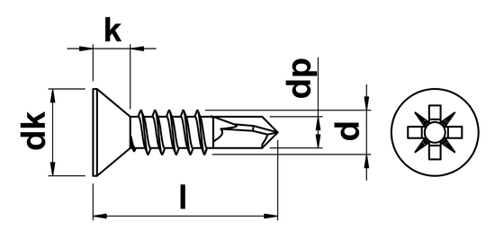 technical drawing of Pozi Csk Self Drilling Screws