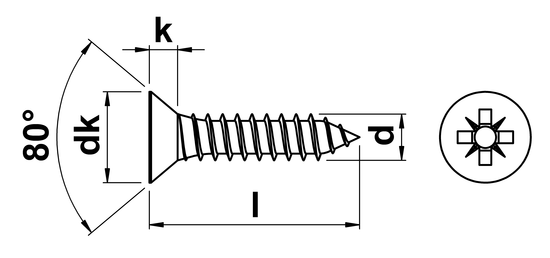 technical drawing of Pozi Csk Tapping Screw ISO 7050 (DIN 7982Z)
