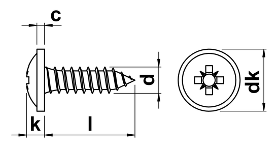 technical drawing of Pozi Pan Head Self Tapping Screws with Flange Type C