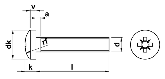 technical drawing of Pozi Pan Machine Screws ISO 7045 (DIN 7985Z)