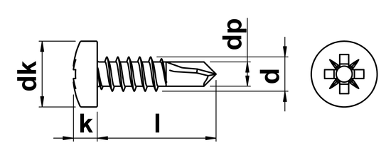 technical drawing of Pozi Pan Self Drilling Screws