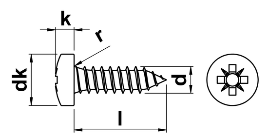 technical drawing of Pozi Pan Tapping Screws Type C (AB) ISO 7049 (DIN 7981Z)