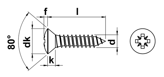 technical drawing of Pozi Raised Csk Tapping Screws DIN 7983Z