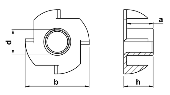 technical drawing of Pronged Tee Nuts (4 Prongs)
