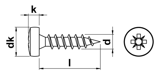 technical drawing of QZ Pozi Pan Head Chipboard Screws
