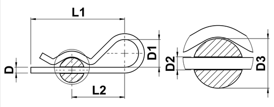 technical drawing of R-Clips (Euro Pattern)