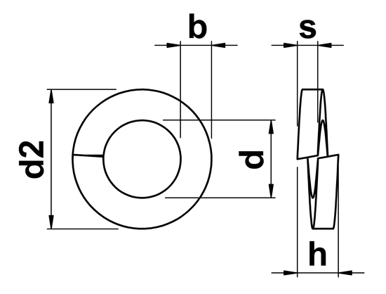 technical drawing of Rectangular Section Spring Washers DIN 127