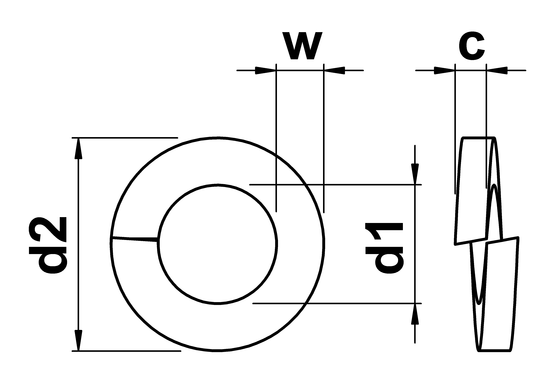 technical drawing of Rectangular Section Spring Washers