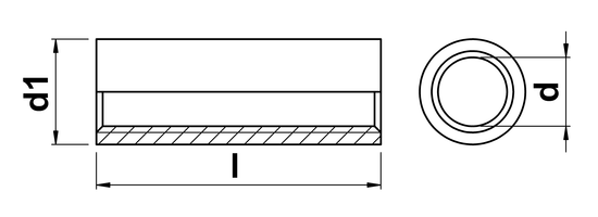 technical drawing of Round Coupler Nut