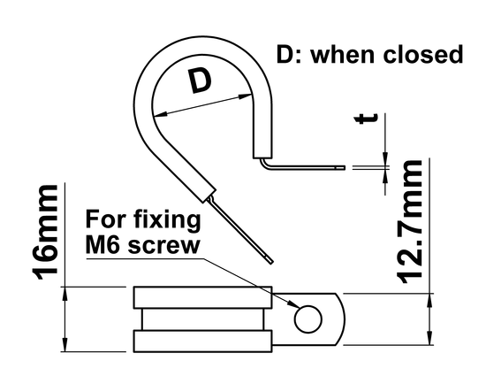 technical drawing of Rubber Lined P-Clips