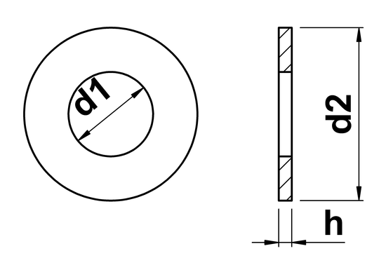 technical drawing of SAE Flat Washers