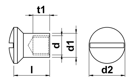 technical drawing of Sleeve Nuts With Pan Head and Slot