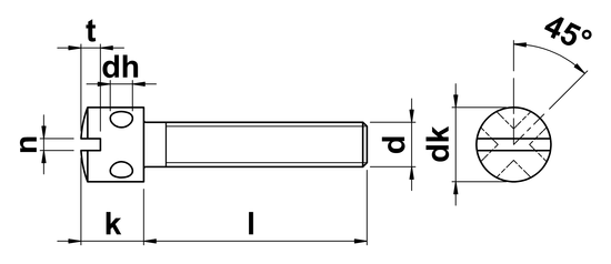 technical drawing of Slotted Capstan Screws (DIN 404)