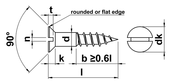 technical drawing of Slotted Countersunk Woodscrews