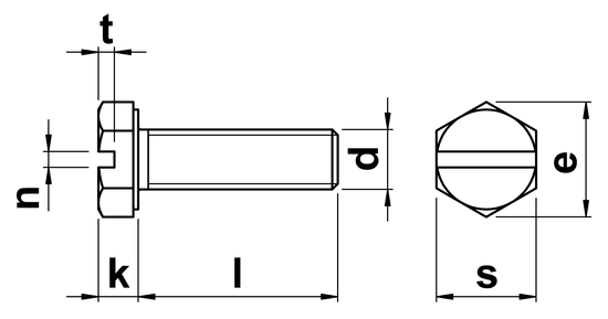 technical drawing of Slotted Hex Head Setscrews (DIN 933)