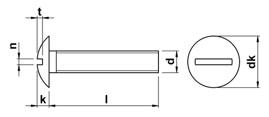 technical drawing of Slotted Mushroom Head Screws