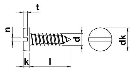 technical drawing of Slotted Pan Self Tapping Screws Type C (AB)