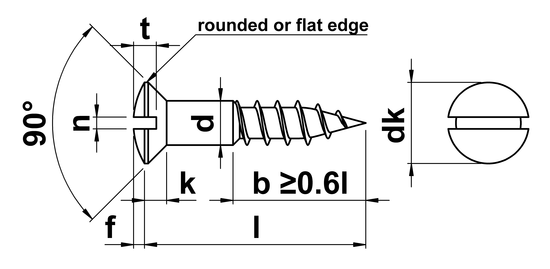 technical drawing of Slotted Raised Countersunk Woodscrews DIN 95