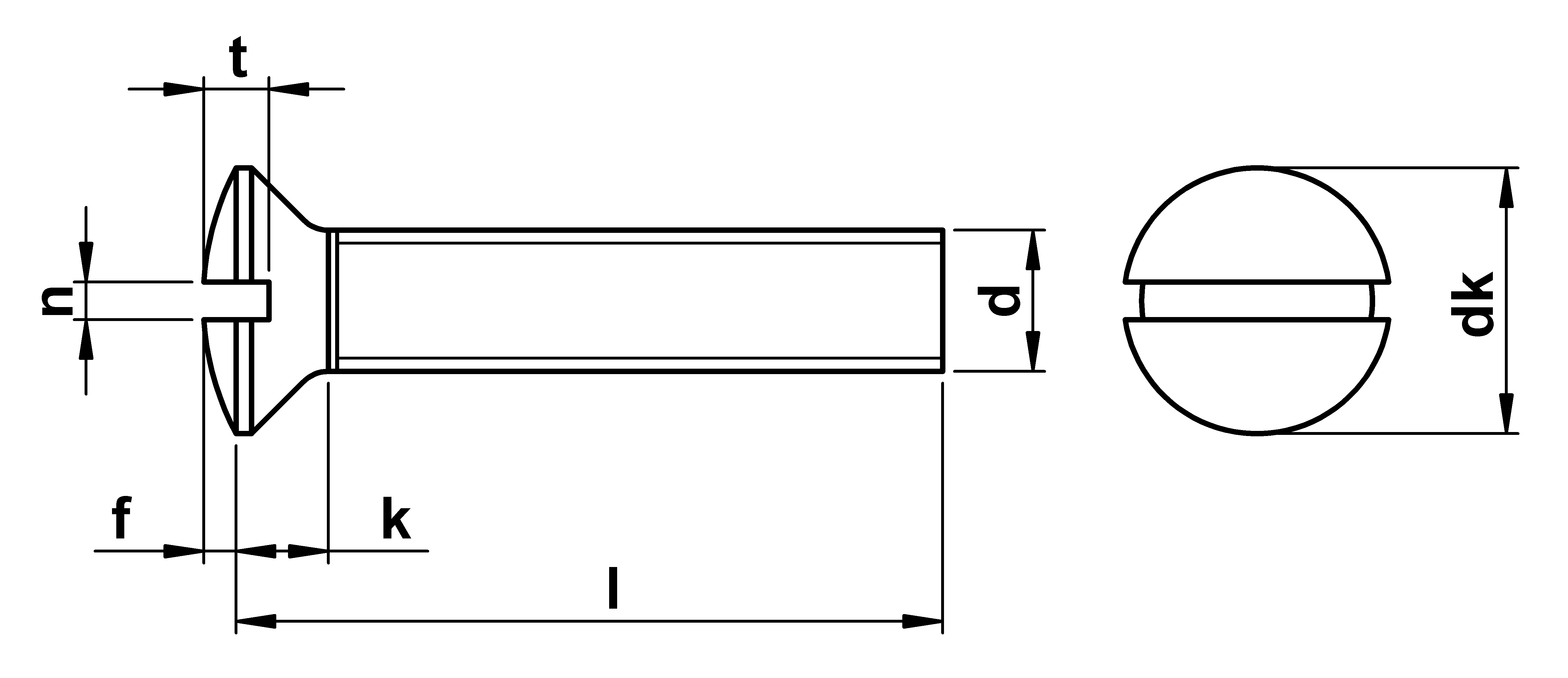 technical drawing of Slotted Raised Csk Machine Screws ISO 2010 (DIN 964)