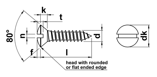 technical drawing of Slotted Raised Csk Self Tapping Screws DIN 7973C