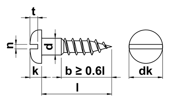 technical drawing of Slotted Round Head Woodscrews