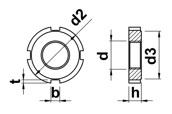 technical drawing of Slotted Round Nuts for hook spanner DIN 1804