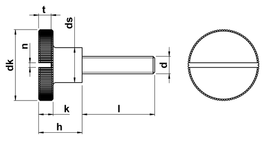 technical drawing of Slotted Thumb Screws High Type (DIN 465)