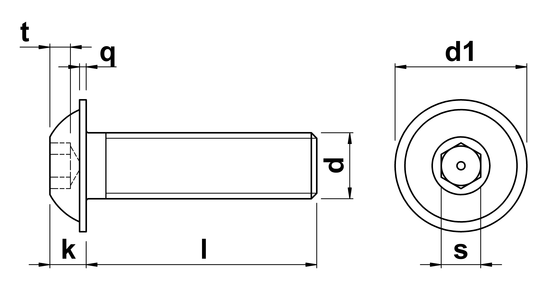 technical drawing of Socket Head Button Screws With Flange ISO 7380 part 2
