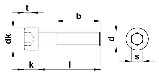 technical drawing of Socket Head Cap Screws With Fine Thread ISO 4762 (DIN 912)