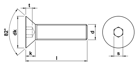 technical drawing of Socket Head Countersunk Screws ASME B18. 3-2003