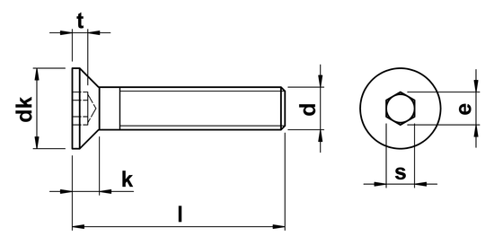 technical drawing of Socket Head Countersunk Screws ISO 10642 (DIN 7991)