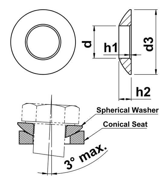 technical drawing of Spherical Washers (Type C)