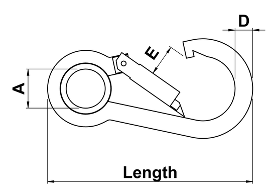 technical drawing of Spring Hook Symmetrical Shape with Thimble