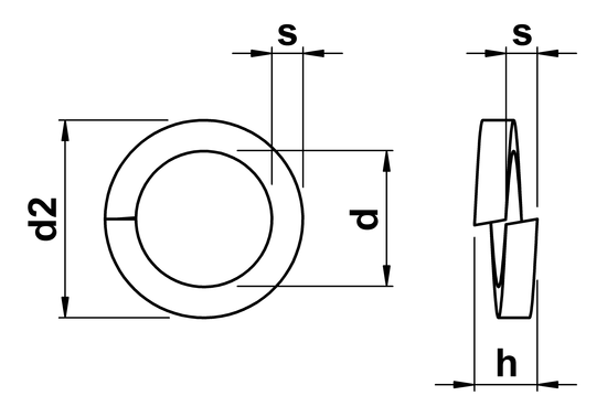 technical drawing of Spring Washer