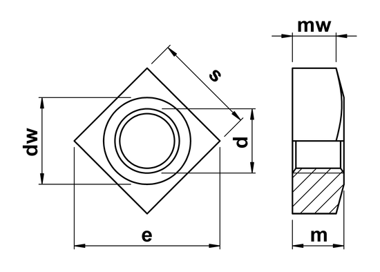 technical drawing of Square Nuts