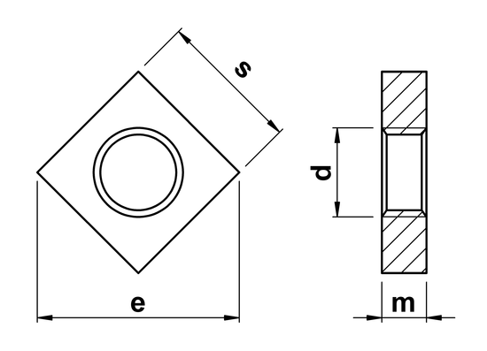 technical drawing of Square Thin Nuts