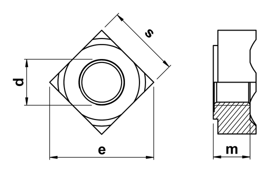 technical drawing of Square Weld Nuts DIN 928