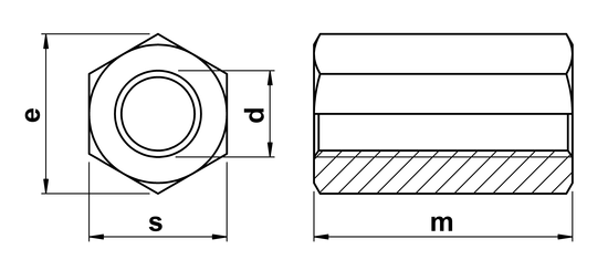 technical drawing of Studding Connector Nuts