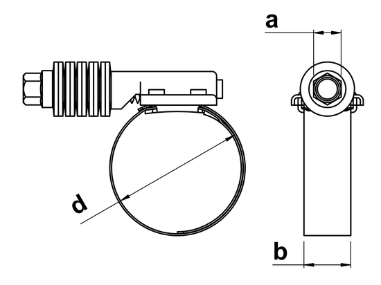 technical drawing of T45 Constant Tension Hose Clamps