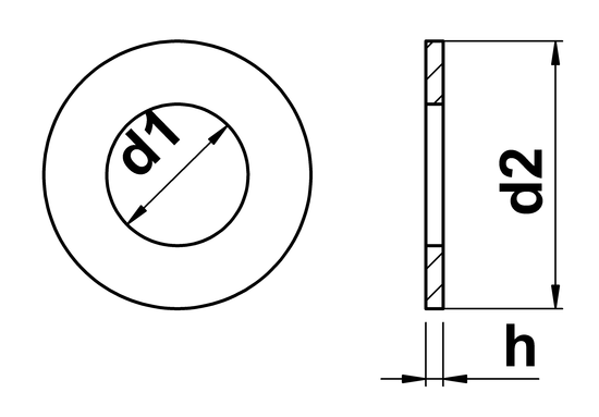 Technical Drawing Of Table 3 Flat Washers