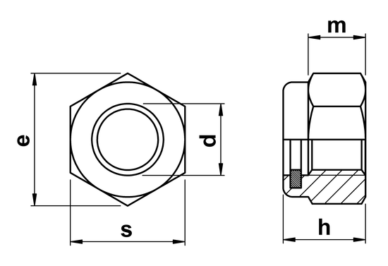 technical drawing of Thin Nyloc Nuts (Type T) ISO 10511 (DIN 985)