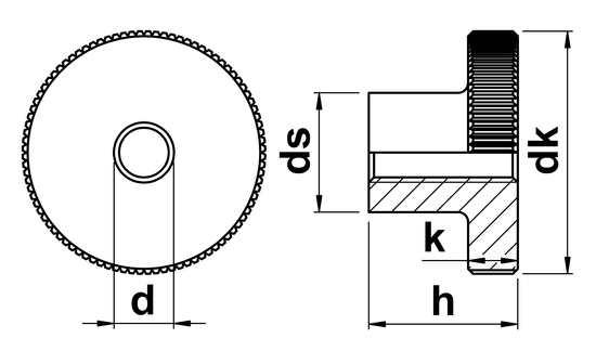 technical drawing of Thumb Nuts High Type DIN 466