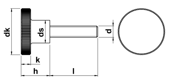 technical drawing of Thumb Screws High Type (DIN 464)