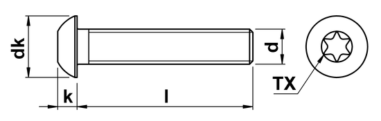 technical drawing of Torx Button Screws