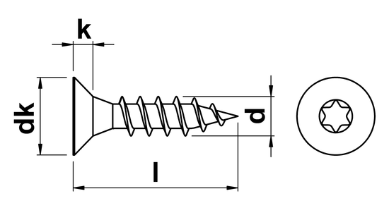 technical drawing of Torx Countersunk Chipboard Screw