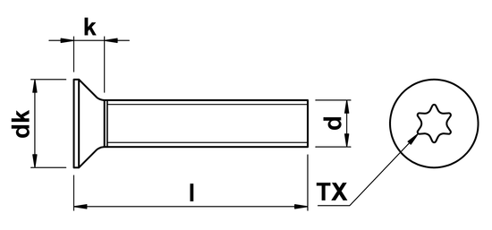technical drawing of Torx Csk Head Screws ISO 14581