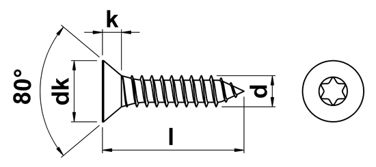 technical drawing of Torx Csk Tapping Screws Type C (AB)