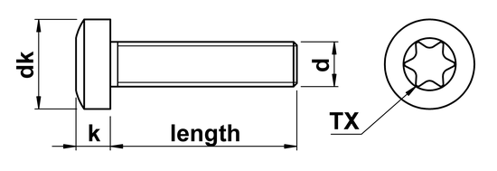 technical drawing of Torx Pan Head Screws ISO 14583